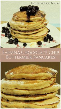 Banana Chocolate Chip Buttermilk Pancakes