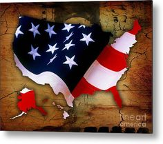 United States Of America Map Art Metal Prints by Marvin Blaine.