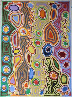 Judy Watson Napangardi Painting SIZE; 107cm by 77cm Aboriginal Painting, Aboriginal Artists, Dot Painting, Funky Art, Modern Art Paintings, Arte Popular, Australian Art, Indigenous Art, Tribal Art