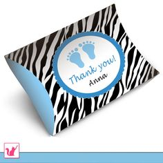 Printable Personalized Pillow Box Jungle Safari Zebra - Baby Boy Shower Birthday Blue Thank you Favor Tags Decoration