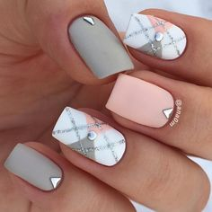 79 pretty mismatched nail art designs - nail art design ideas to try ,mix and matched nail art ideas, peach and grey nail polish #nails #nailart #manicure