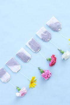 DIY Floral Tea Bags. Fun for a tea party.
