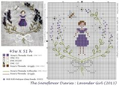 Lavender Girl ~ a free cross-stitch pattern from The Snowflower Diaries Free Cross Stitch Charts, Cross Stitch Freebies, Cross Stitch Baby, Cross Stitch Flowers, Counted Cross Stitch Patterns, Cross Stitch Designs, Cross Stitch Embroidery, Embroidery Patterns, Cross Stitching