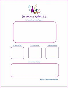 FREE New Years Eve printable: Year in Review for kids with space to draw!  (scroll to bottom of post)