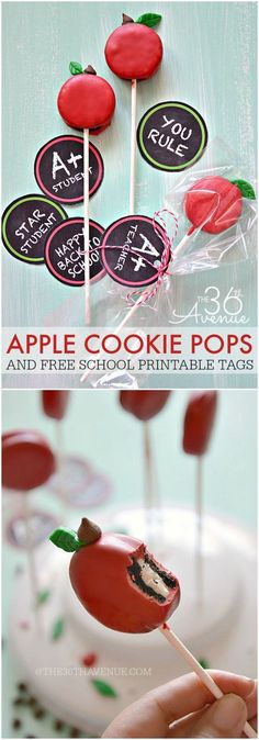 Back to School - Apple Oreo Pops Recipe and Free Printables at http://the36thavenue.com. Cute idea for an apple themed party. Or fall desserts table.