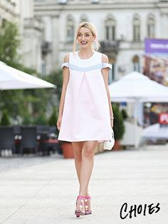 Pink Contrast Cold Shoulder Swing Dress | Choies
