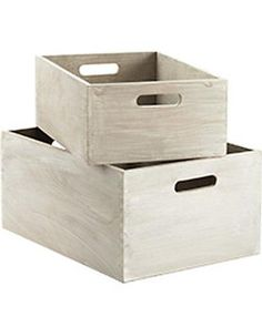 White-washed wood bins from The Container Store