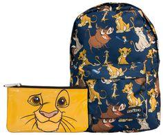 6e49852125e8 Amazon.com  Loungefly Disney Lion King Printed Backpack  amp  Simba Face Pencil  Case
