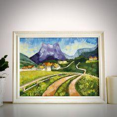 "Original Landscape Painting, ""Alpine village"" Acrylic Painting, Landscape Art, Original Artwork, Wall Art Canvas, 40cm(w) x 30cm(h) by AngelinaRunkovaArt on Etsy"