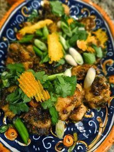 Scrumpdillyicious: Chinese New Year Monkfish with Cilantro Garlic monkfish recipes Monkfish Recipes, Chinese New Year, Kung Pao Chicken, Coriander, Wok, Cilantro, Nom Nom, Chili, Garlic