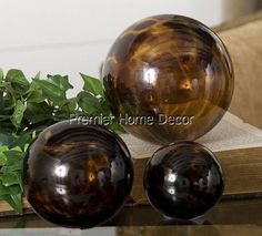 Old World Tuscan Decorative St/3 Spheres Transparent Tortoise Glass