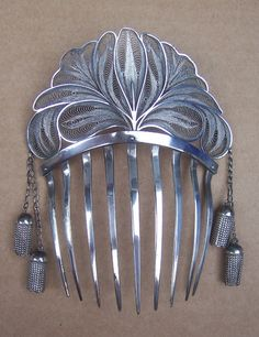 Early Victorian Hair Comb Algerian Silver by DragonsLairVintage