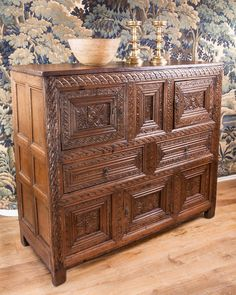16th century English carved cupboard, Marhamchurch antiques