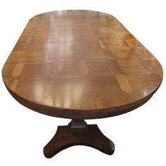 Very Long Magnificent Walnut Parquetry Oval Table | From a unique collection of antique and modern dining room tables at https://www.1stdibs.com/furniture/tables/dining-room-tables/