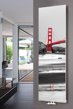 XIMAX Paneelheizkörper P1 Plan Print, mit Mittenanschluss und Motiv P15 Golden Gate Bridge