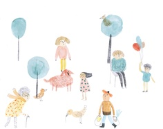 Some characters waiting a story by Marion Barraud, via Behance
