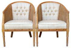 Caned Barrel Chairs, Pair on OneKingsLane.com