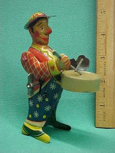 Vintage Tin Litho Wind Up Clown Drummer Toy with Original Box Germany | eBay