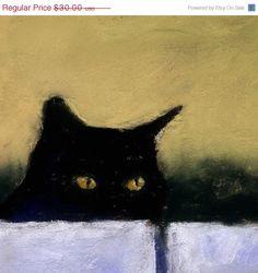 SALE 20 OFF Black Cat Print  Cat Art Painting  by AlisaPaints, $24.00