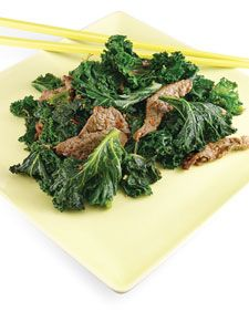 Ginger Beef and Kale.  From Matha Stewart. Consider this recipe a blueprint for other stir-fries, swapping in your favorite dark, leafy greens (bok choy, Swiss chard) or quick-cooking cut of lean  beef (round, sirloin).