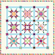 Star of Chamblie Sampler by Marsha McCloskey in American Brand solids from Clothworks.
