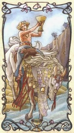 Knight of Cups Tarot Card Meanings. Upright: Romance, charm, 'Knight in shining armour', imagination Reversed: Unrealistic, jealousy, moodiness Knight of Cups Tarot Card Meanings and Description. The Knight of Cups is seen as a young knight, riding along on his white horse, holding a cup as if he is a messenger of some type.