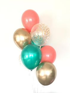 Coral Balloons Coral and Green Balloons Tropical Bridal Peach Bridal Showers, Coral Baby Showers, Tropical Bridal Showers, Coral Baby Shower Decorations, Sweet 16 Decorations, Coral Party, Peach Party, Baby Shower Cake Pops, Shower Baby