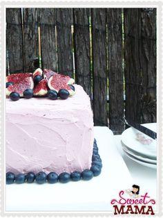 Red velvet with figues and berries. Receta en español.