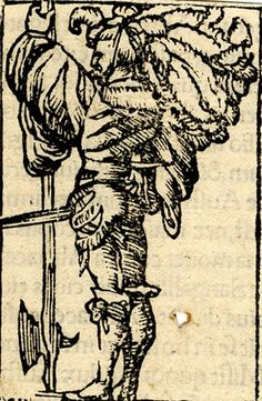 A lansquenet; whole-length male figure, in profile to left, holding a halberd upside down; illustration to the Latin edition of Sebastian Münster, 'Cosmographia', Basle: Heinrich Petri, 1552.   Woodcut
