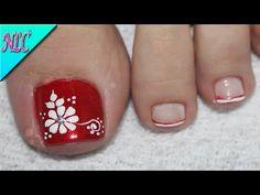 ♥DISEÑO DE UÑAS PARA PIES FLOR PARA PRINCIPIANTES ¡MUY FÁCIL! - FLOWERS NAIL ART - NLC - YouTube Toe Nail Flower Designs, Flower Toe Nails, Toenail Art Designs, Pedicure Nail Art, Toe Nail Art, Nail Manicure, Blue Acrylic Nails, Pink Nails, Pretty Toe Nails