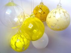 Citron Yellow Hand Blown Glass Bauble, Christmas Decoration
