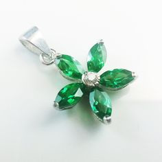 Green Star Flower Pendant  925 Sterling Silver Pendant  Green cubic zirconia  Rodium Plated  $ 39.00
