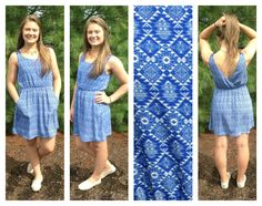 Blue printed dress with pockets!!! Need i say more?