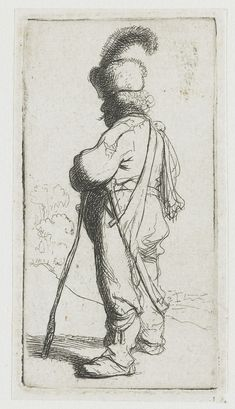 Polander leaning on a stick - Rembrandt