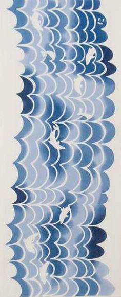 Japanese Tenugui Towel Fabric, Hand Dyed Fabric, Dolphin & Blue Wave, Animal Print Fabric, Sea / Ocean Art Wall Hanging, Home Decor, JapanLovelyCrafts