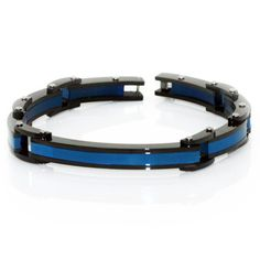 $40 Thin Blue Line Bracelet Stainless Steel Thin Red Blue Line - Donations made to firefighter and police charities