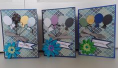 Happy Birthday with Balloons Blue Balloons Red by SaraPaperCards
