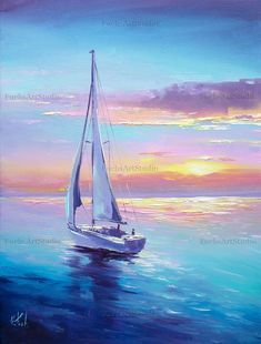Sailing boat painting colorful seascape sunset art