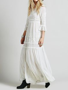 White Embroidery Ruffle Flare Sleeve Skater Maxi Dress