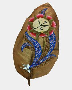 """""""Ey inananlar! And olsun ki, sizin için, Allah'a ve âhiret gününe kavuşmayı umanlara ve Allah'ı çok anan kimselere Allah'ın Elçisi Hz.… Turkish Art, Leaf Art, Islamic Art, Art Boards, Flower Art, Folk Art, Oriental, Mandala, Miniatures"""
