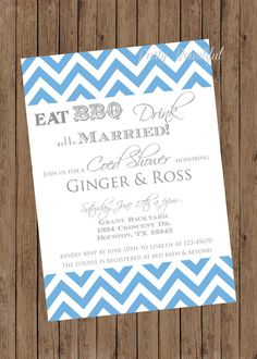 Couples or Coed Bridal Shower Printable Invitation-Chevron I Do BBQ, Rehearsal, You Choose Color