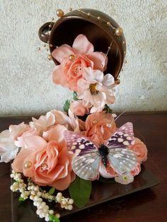 Elegant peach and brown tea cup Teapot Crafts, Cup Crafts, Brown Tea Cups, Hobbies And Crafts, Diy And Crafts, Floating Tea Cup, Tea Cup Art, Floating Flowers, Art N Craft