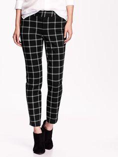 The Pixie Mid-Rise Ankle Pants black plaid pants