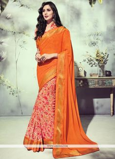 Famous designers tend to give reign to their imagination and create clothes that look interesting and guided by the desire to attract attention. Look stunningly beautiful in this orange georgette prin...