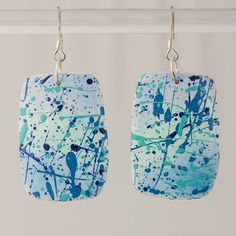 Jackson Pollock inspired polymer clay dangle earrings in tones of blue