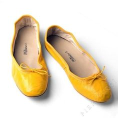 Porselli Shoe Coll. Clothing Yellow Italian Leather Ballet Flats, all leather soles