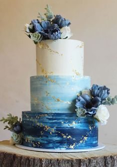These 39 Wedding Cakes Are Seriously Pretty Planning a wedding is an exciting and stressful job for bride. Therefore, selecting a cake for the wedding is a huge responsibility. Wedding cakes play a. Pretty Cakes, Beautiful Cakes, Watercolor Wedding Cake, Wedding Colors, Wedding Blue, Blue Wedding Cakes, Blue Weddings, Indian Weddings, Floral Wedding