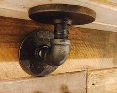 Industrielle Rohr Halterung für Holz-Regal | Industrie-Dekor | SteamPunk l rustikale Einrichtung
