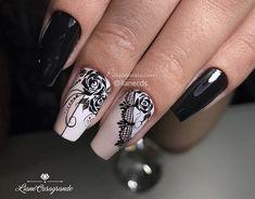 Unhas Decoradas em Preto. Muitas opções em fotos e passo a passo! Manicure, Best Acrylic Nails, Beautiful Lips, Black Nails, Winter Nails, Pedi, Nail Colors, Nail Art Designs, Nailart