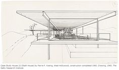 Case Study House  22 (Stahl House) by Pierre F. Koenig, West Hollywood (1960). Drawing, 1960.